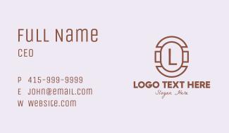 Brown Retro Lettermark Business Card