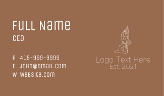 White Stretching Pose Business Card