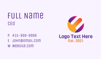 Vibrant Round Letter E Business Card