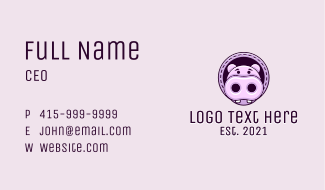 Cute Baby Hippopotamus Business Card