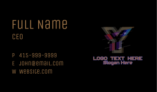 Gradient Glitch Letter Y Business Card