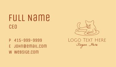 Cat Kitten Monoline  Business Card