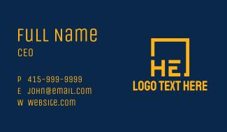 Golden HE Monogram Business Card