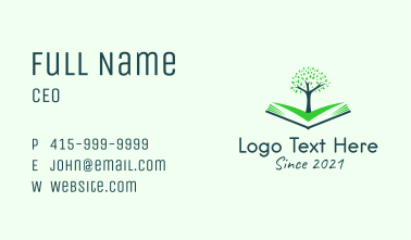 Nature Tree Book  Business Card