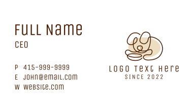 Minimalistic Puppy Outline Business Card