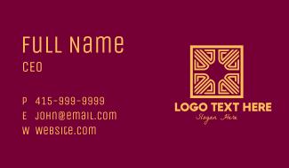 Golden Intricate Maze Business Card