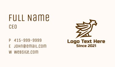 Perched Minimalist Hawk  Business Card