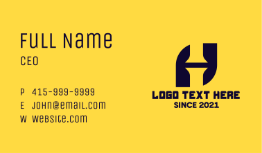 Simple Letter H Pipes Business Card