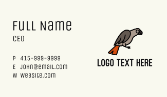 Congo Grey Parrot Business Card