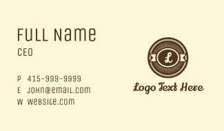 Bakery Badge Letter Business Card