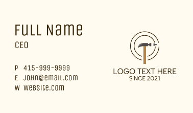 Construction Nail Hammer Business Card