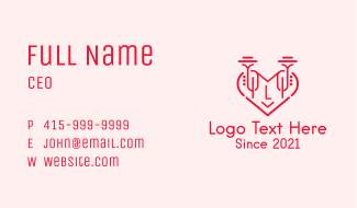 Red Trumpet Heart Letter Business Card
