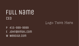 White Kooky Wordmark Business Card