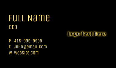 Glowing Marquee Text  Business Card