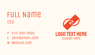 Orange Interlinked Price Tags Business Card