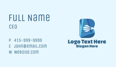 Blue Shuttlecock Letter B  Business Card
