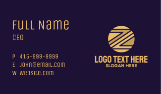 Gold Bitcoin Letter Z Business Card