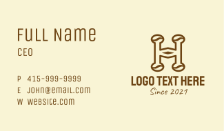 Brown Coffee Letter H Business Card