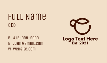 Coffee Cup Letter E Business Card