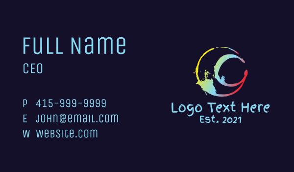 art shop - Art Splatter Letter C Business card horizontal design