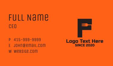 Food Fork Letter F Business Card