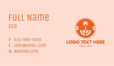 Tropical Coconut Tree Badge Business Card