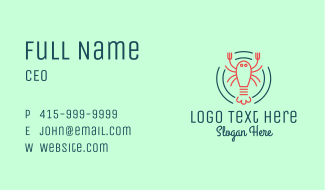 Seafood Lobster Plate Business Card