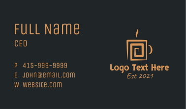 Brown Aztec Hot Coffee Business Card