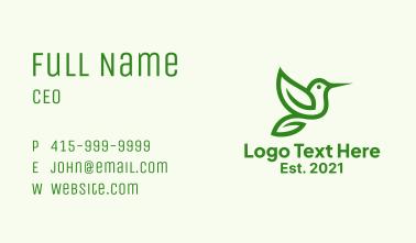 Minimalist Green Hummingbird Business Card