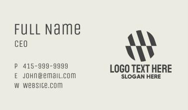 Black Striped Circle Business Card