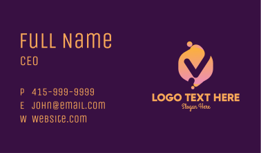 Gradient Liquid Letter V Business Card
