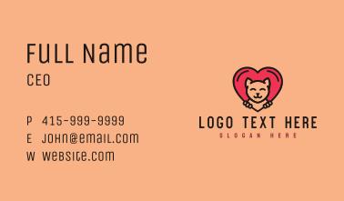 Pet Cat Heart  Business Card