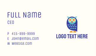 Cute Colorful Owl Business Card