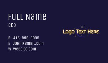 Glowing Text Moon Wordmark Business Card