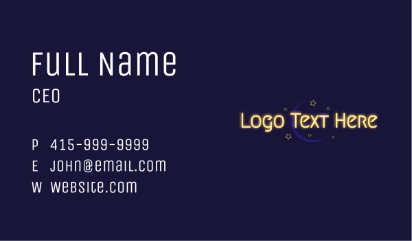 cosmic - Glowing Text Moon Wordmark Business card horizontal design