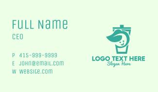 Green Herbal Drink Mascot Business Card
