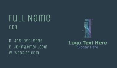 Modern Glitch Letter I Business Card