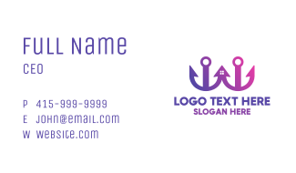 Purple Twin Anchor Home Business Card