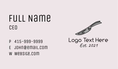 Gray Kitchen Knife  Business Card