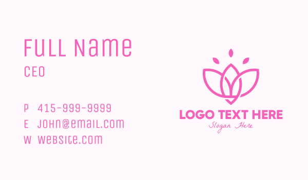 blossom - Pink Lotus Flower Business card horizontal design