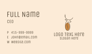 Stag Coffee Bean Business Card