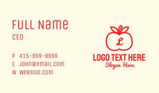Apple Fruit Letter Business Card