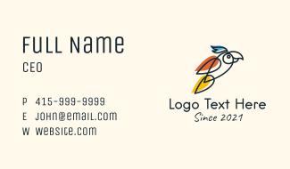 Minimalist Parrot Bird Business Card