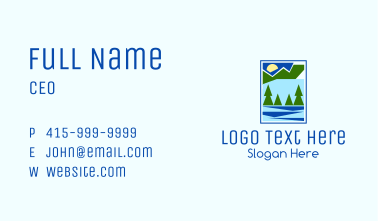 Nature Pine Tree River Business Card