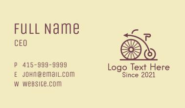 Penny Farthing Arrow Bike Business Card