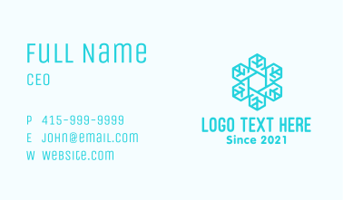Blue Snowflake Outline Business Card