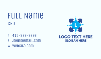 Blue Arrow Lettermark Business Card