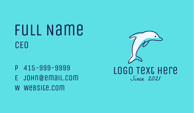 Dolphin Waterpark Mascot Business Card