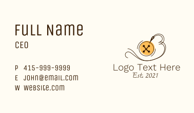 Button Thread Sewing Business Card