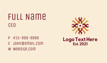Traditional Weaving Pattern Business Card